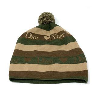 クリスチャンディオール(Christian Dior)の【美品】Christian Dior☆ニット帽子 ロゴ ハート ストライプ (ニット帽/ビーニー)