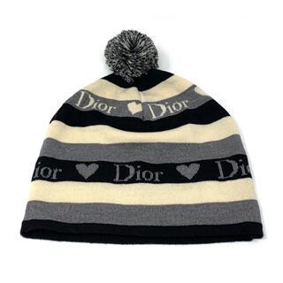 クリスチャンディオール(Christian Dior)の【美品】Christian Dior☆ニット帽子 ロゴ ハート ストライプ(ニット帽/ビーニー)