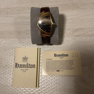 ベンチュラ(VENTURA)の希少品! HAMILTON ベンチュラ 6250 ブラック ゴールド 黒金 本革(腕時計(アナログ))
