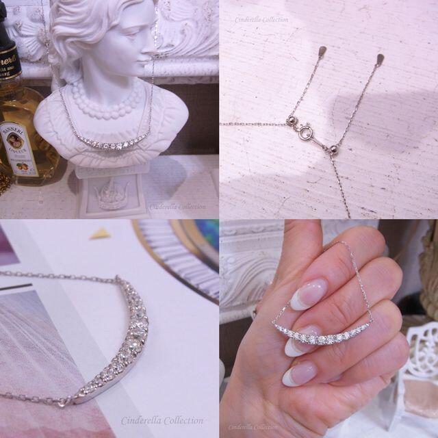 万能チェーン★Pt900天然ダイヤモンド★総1ctシンプルラインネックレス レディースのアクセサリー(ネックレス)の商品写真