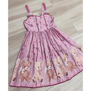 シャーリーテンプル(Shirley Temple)のShirleyTempleシャーリーテンプルくまプリントジャンパースカート150(ワンピース)