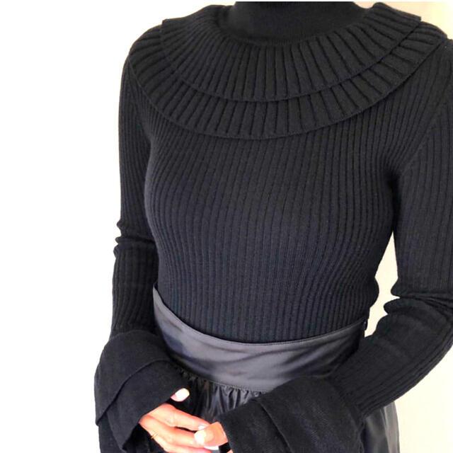 Drawer(ドゥロワー)のcygne  お袖フリルニット kuu-chan ネイビー新品未使用 レディースのトップス(ニット/セーター)の商品写真