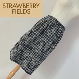 STRAWBERRY-FIELDS - ストロベリーフィールズ アンゴラ混スカート ニードルレース