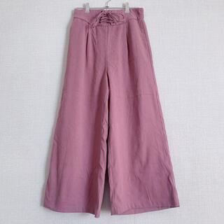 ワイドパンツ スエード パープル ピンク M L