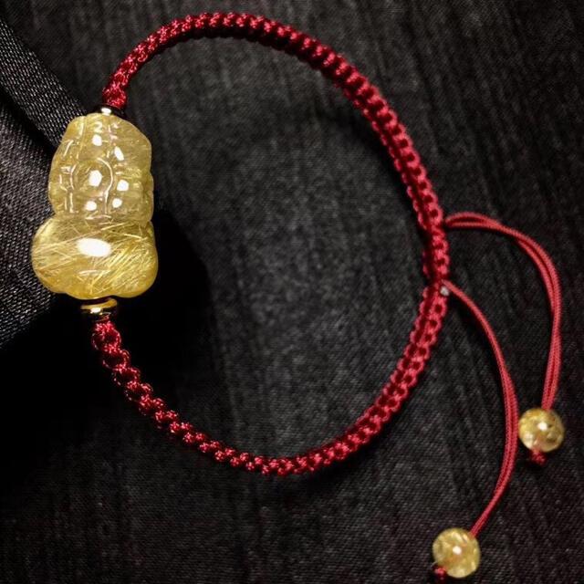 【高級】天然 ゴールドタイチンルチル クォーツ ブレスレット 4.4g レディースのアクセサリー(ブレスレット/バングル)の商品写真