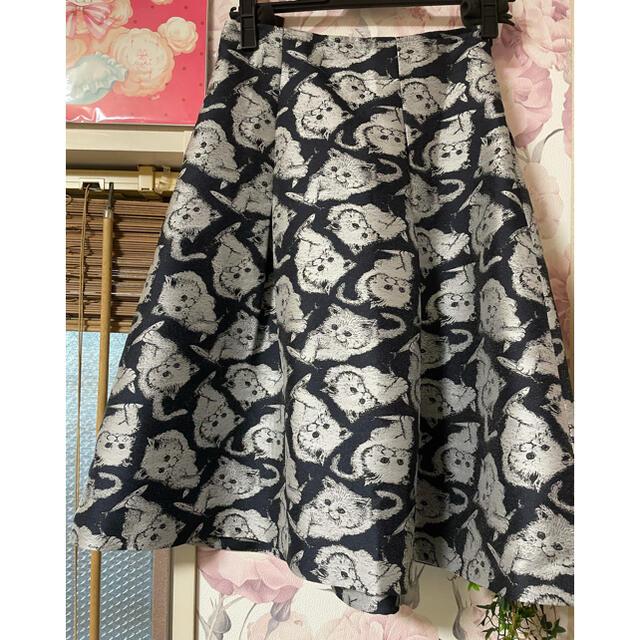 franche lippee(フランシュリッペ)のフランシュリッペブラック ネコちゃんスカート レディースのスカート(ひざ丈スカート)の商品写真