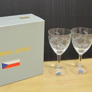 ボヘミア クリスタル(BOHEMIA Cristal)の新品 BOHEMIA GLASS ボヘミア ペア ワイングラス(ガラス)