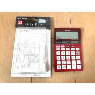 シャープ(SHARP)の美品●SHARP 電卓 シャープ EL-M822 赤 フルセット(オフィス用品一般)