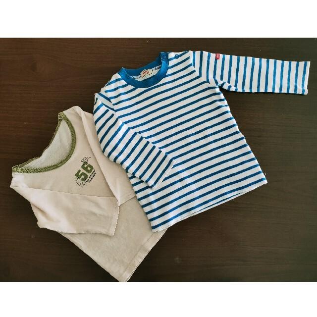 mikihouse(ミキハウス)のMIKIHOUSE ミキハウス ボーダー ブルー ロンT ロンティー 70-80 キッズ/ベビー/マタニティのベビー服(~85cm)(Tシャツ)の商品写真
