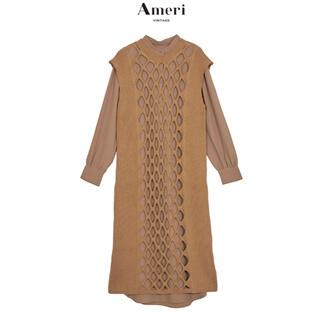 Ameri VINTAGE - 完売品 AMERI LAYERED MESH KNIT DRESS ブラウン