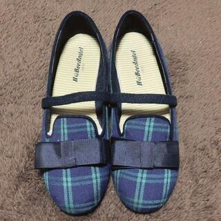 緑とネイビーのチェックの靴 黒リボン 21cm(その他)
