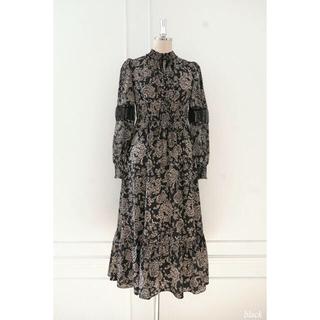 Winter Floral Long-sleeve Dress