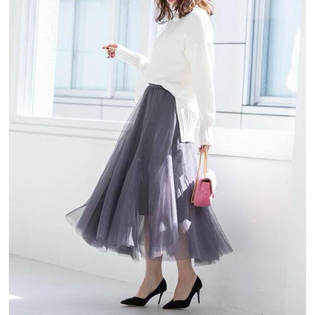 fifth(フィフス)のfifth チュールロングスカート グレー レディースのスカート(ロングスカート)の商品写真