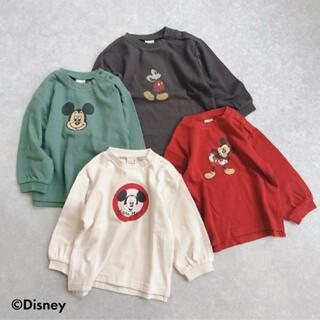 petit main - プティマイン 【DISNEY】 ミッキーマウスデザイン スリット入りTシャツ