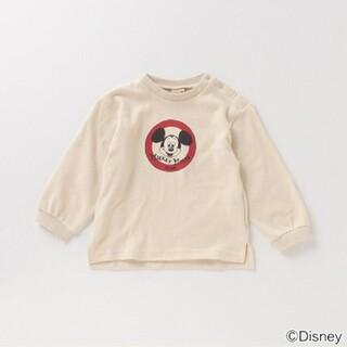 プティマイン(petit main)のプティマイン 【DISNEY】 ミッキーマウスデザイン スリット入りTシャツ(Tシャツ/カットソー)