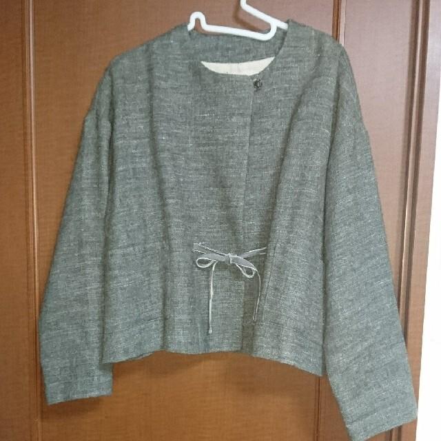 nest Robe(ネストローブ)のネストローブ リネンウールツイルノーカラージャケット レディースのジャケット/アウター(ノーカラージャケット)の商品写真