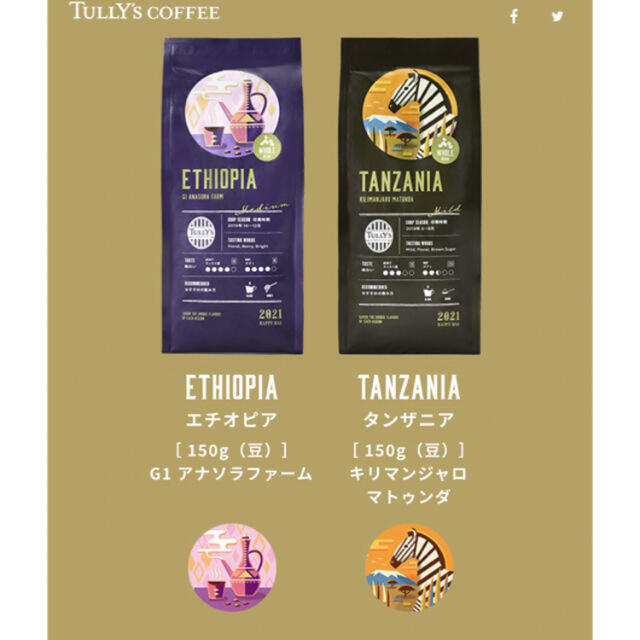 TULLY'S COFFEE(タリーズコーヒー)のTully'sCoffee 2021 HAPPY BAG コーヒー豆 5点 食品/飲料/酒の飲料(コーヒー)の商品写真