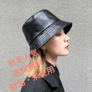 【大人気】バケットハット レザー ブラック オルチャン レディース 韓国(ハット)
