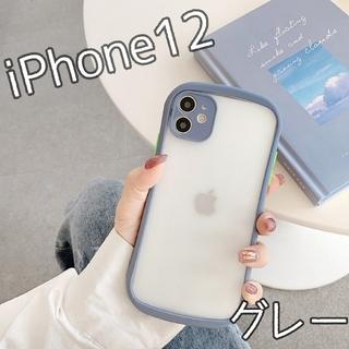大人気★ ケース バンパースマホケース iPhone12 グレー(iPhoneケース)