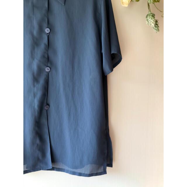訳あり レディース シャツ ブラウス 半袖 レディース ネイビー レディースのトップス(シャツ/ブラウス(半袖/袖なし))の商品写真