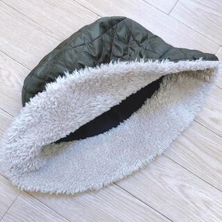 【美品】バケットハット キルティング ボア キャップ 帽子 韓国(ハット)