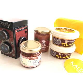 カルディ(KALDI)のカルディ カメラ缶 ハリッサ あまおう苺バター カレーパン エコバッグ6点セット(缶詰/瓶詰)