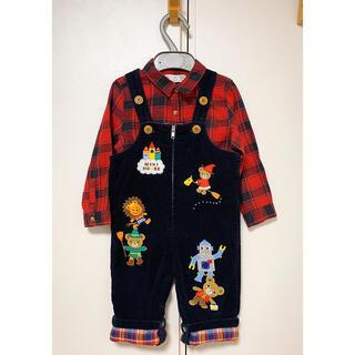 DOUBLE.B - 美品 レアなオーバーオール ロンパースミキハウス 80cm おまけシャツ付き