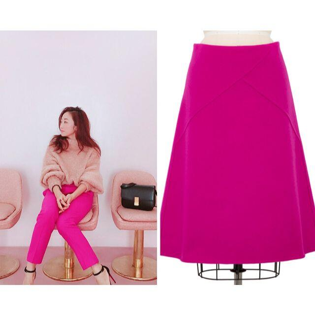 Drawer(ドゥロワー)のSALE☆Drawer バックジップ メルトンウールWフェイルスカート☆ピンク レディースのスカート(ひざ丈スカート)の商品写真