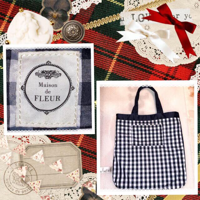 Maison de FLEUR(メゾンドフルール)のMaison de FLEUR ダブルリボンネイビー レディースのバッグ(トートバッグ)の商品写真