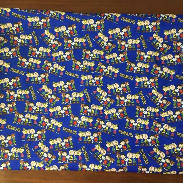 SALE☆ブルー スヌーピー  生地 はぎれ 布 ハンドメイド 50×140 ハンドメイドの素材/材料(生地/糸)の商品写真