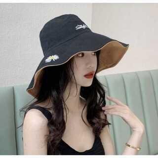 レディース 帽子 キャップ サファリハット リバーシブル  ブラック×ブラウン(その他)