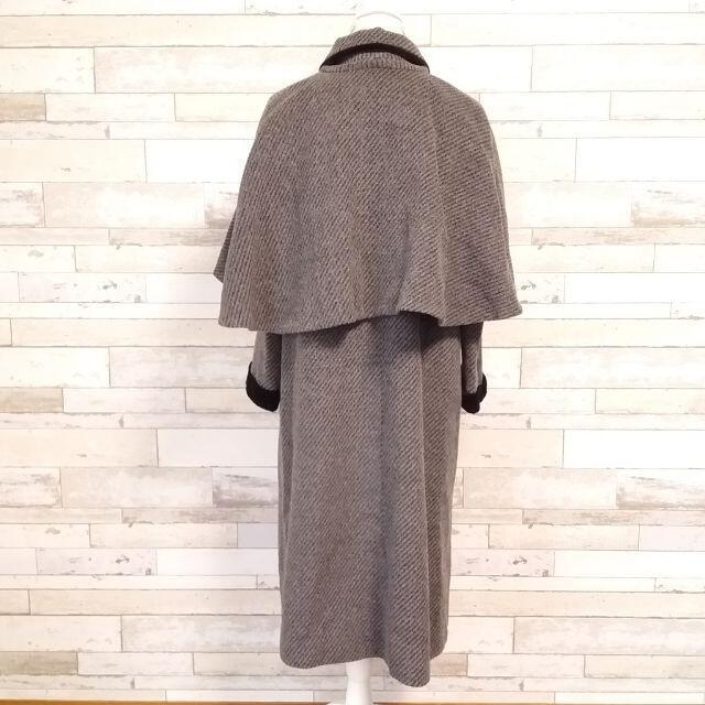 Carat(キャラット)のキャラット アルパカ混ウール マント付ステンカラーコート ベロアライン 11A2 レディースのジャケット/アウター(ロングコート)の商品写真