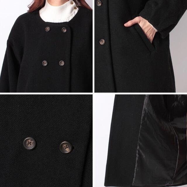 SM2(サマンサモスモス)の美品 Samansa Mos2✨サマンサモスモス ノーカラー ダブルボタンコート レディースのジャケット/アウター(ロングコート)の商品写真