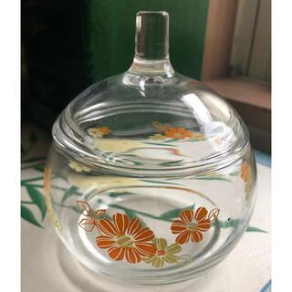 昭和レトロ アデリアグラス 蓋つきガラスポット 小物入れ(ガラス)