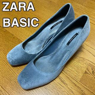 ZARA - 【送料込】ZARA ベロア パンプス(グレー,ブルー)ハイヒール