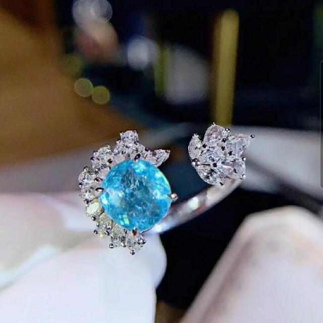 1.61ct 天然Neonパライバトルマリン ダイヤモンド リング レディースのアクセサリー(リング(指輪))の商品写真