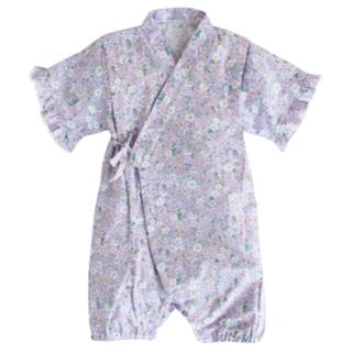 パープル フラワー ベビー 浴衣 コットン ロンパース キッズ 子供服(甚平/浴衣)