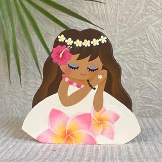 【新作】可愛い ハワイアン フラガールの印鑑立て【ハワイ フラダンス】(小物入れ)