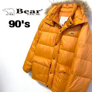 ベアー(Bear USA)の美品 90's Bear USA ダウンジャケット メンズM オレンジ (ダウンジャケット)