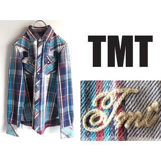 TMT - 定価30800円 TMT L/SL CHECK SHIRT ネイビー ブルー M