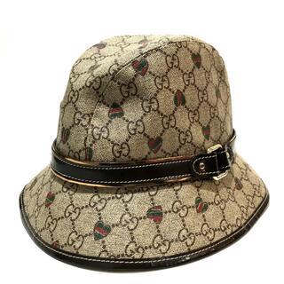 グッチ(Gucci)のグッチ ハット帽 GGプラス ハート PVC レディース ベージュ×ブラウン M(その他)