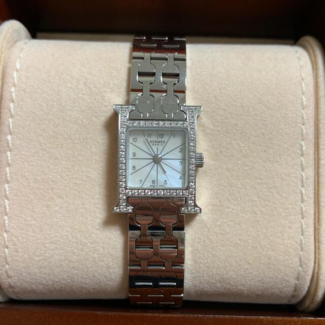 Hermes(エルメス)のエルメス純正ダイヤベゼル レディース Hウォッチ レディースのファッション小物(腕時計)の商品写真