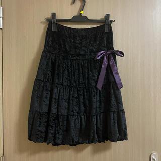 イオリ(IORI)のIORI イオリ ベロアスカート ベロア ブラック ブラックスカート リボン(ミニスカート)