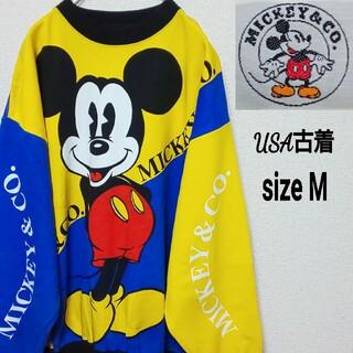 ディズニー(Disney)の【USA古着】90s ディズニー  ミッキー プリント スウェット ビッグロゴ(スウェット)