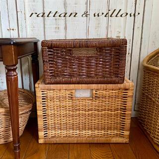 ラタン&ウィロー レクタングル.ボックスバスケット 籐 柳 籠 収納 ナチュラル