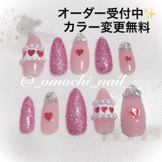 【オーダー】ネイルチップ 量産型 地雷 miumiu ピンク ハート キラキラ