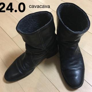 サヴァサヴァ(cavacava)の【最終価格】cavacava ショートブーツ 黒 24.0cm(ブーツ)