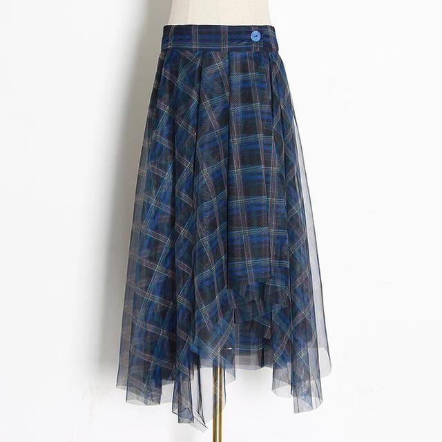 FRAY I.D(フレイアイディー)のレビューあり アシンメトリー チュール ロングスカート zara fray id レディースのスカート(ロングスカート)の商品写真