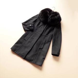 Max Mara - ■マックスマーラ STUDIO■ IJ 38 黒 フォックスファー襟 コート
