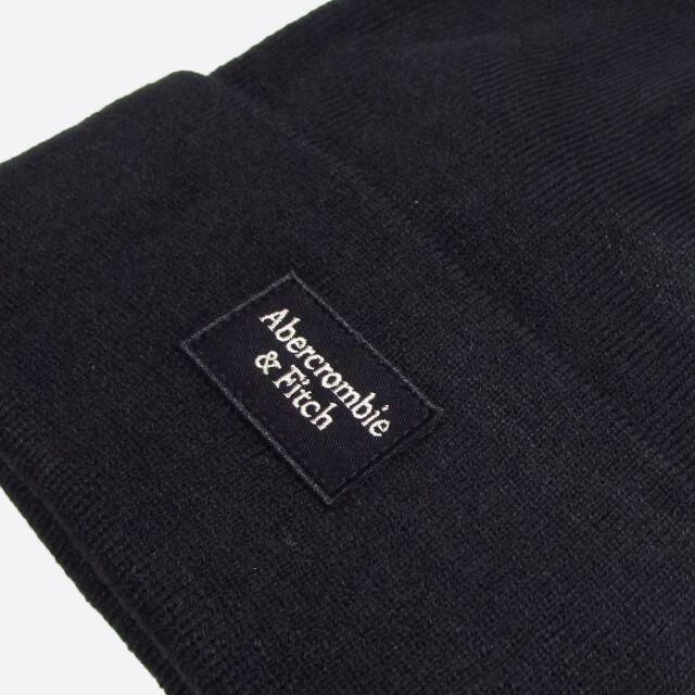Abercrombie&Fitch(アバクロンビーアンドフィッチ)の★新品★アバクロンビー&フィッチ★ロゴパッチリブニットビーニー (Black) メンズの帽子(ニット帽/ビーニー)の商品写真